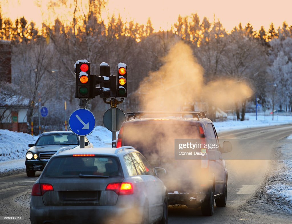 Winter morning, cars in queue : Stock Photo