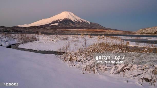 winter morning fuji at lake yamanaka - 雪 stock pictures, royalty-free photos & images