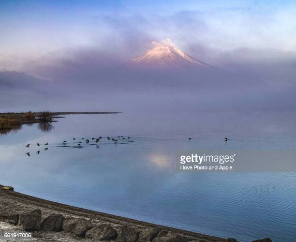 winter morning lake yamanaka - 一月 stock pictures, royalty-free photos & images