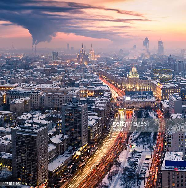 Winter Moscow cityscape at sunset. Aerial view