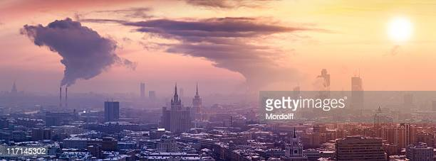 Winter Moscow cityscape at sunset. Panoramic view