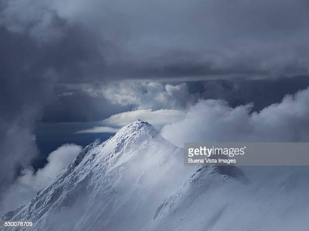 Winter mountain in the clouds