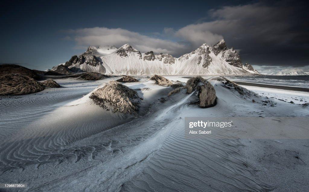 A winter mountain scene. : Stock Photo