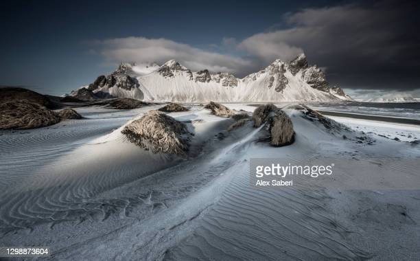 a winter mountain scene. - alex saberi stock pictures, royalty-free photos & images