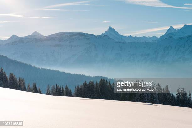 Winter mountain scene with fresh snow and Alps mountain range in background in Switzerland