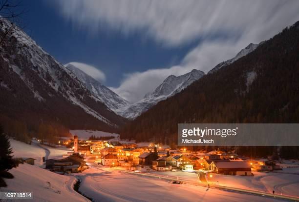 Winter Mountain Village At Night