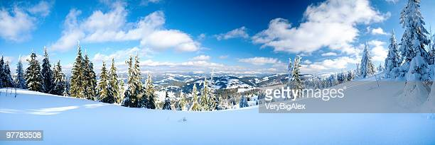 winter mountains - snowcapped mountain stock pictures, royalty-free photos & images