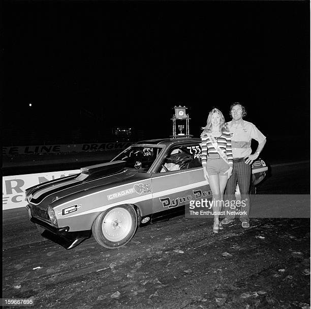 Winter Nationals Scottsdale Arizona Bee Line Dragway Dyno Don Nicholson poses with Miss Winter Nat'ls in front of his winning Pro Stock Ford Pinto...