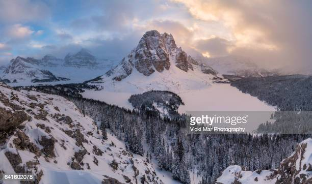 winter | niblet, mount assiniboine, canadian rockies - winnipeg stock pictures, royalty-free photos & images