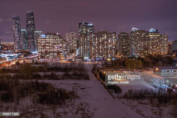 winter night in mississauga - mississauga stock pictures, royalty-free photos & images