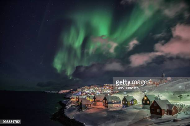 winter night in nuuk - greenland stock pictures, royalty-free photos & images