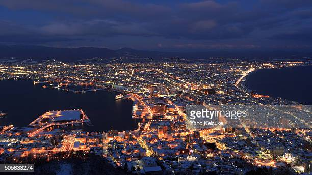Winter night view of Hakodate, Hokkaido, Japan