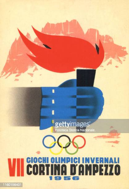 The Olympic torch is held by a hand with a wool glove the mountains are depicted in the background Color lithographic poster reproduced in a postcard...