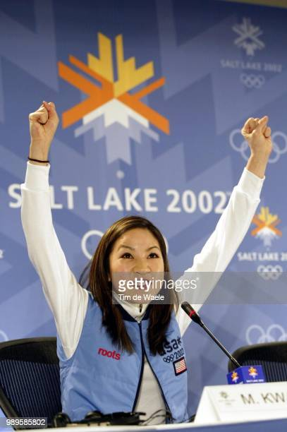 Salt Lake City 02/08/02 Salt Lake City Utah Us Figure Skater Michelle Kwan Demonstrates Her Enthusiasm For A Gold Medal In The Event During A Press...