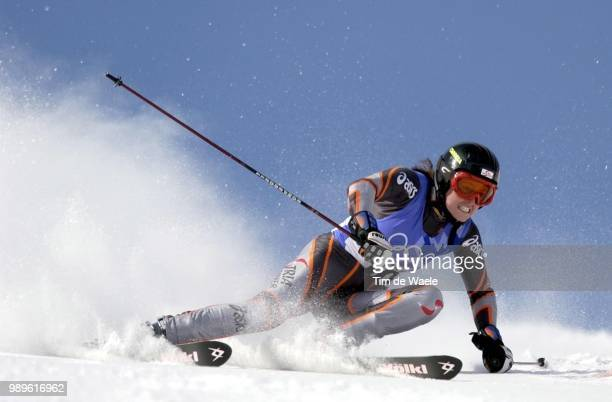 Salt Lake City 02/22/02 Park City Utah United States Alexandra Meisnitzer Of Austria During Her First Run In The Ladies' Giant Slalom During...