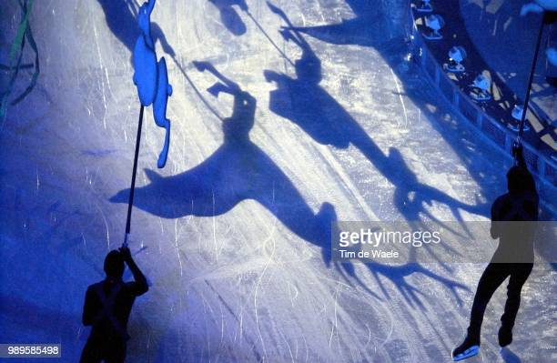 Salt Lake City 02/8/2002 Salt Lake City Utah United States Animals Are Silhouetted On The Ice As Skaters Circle The Stadium Floor During Opening...