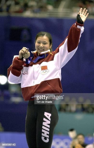 Salt Lake City 2/16/02 Salt Lake City Utah United States Yang Yang Won The Gold Medal In The Ladies' 500Meter Short Track Speed Skating Finals During...