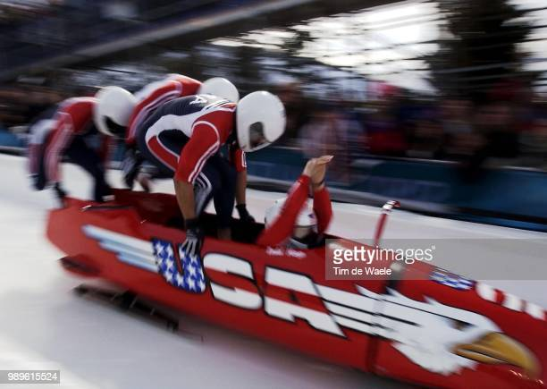 Salt Lake City 2/22/02 Park City Utah United States Team Usa2 Starts Its Second Run In He FourMan Bobsleigh Training At The Utah Olympic Park During...
