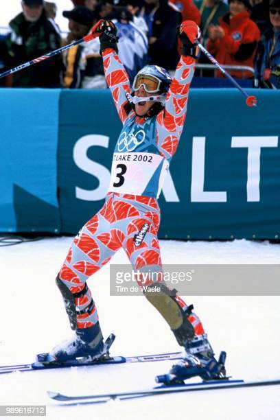 Salt Lake City 2/23/02 Park City Utah United States JeanPierre Vidal Of France Celebrates His Gold Medal Victory In The Men'S Slalom At The 2002...