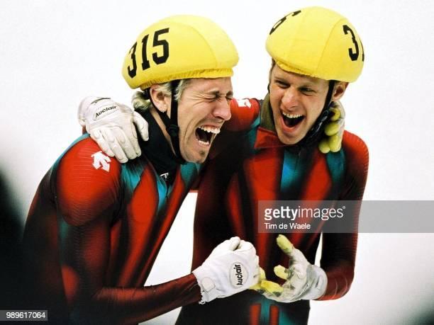 Salt Lake City 2/23/02 Salt Lake City Utah United States Canada Short Track Speed Skaters Marc Gagnon And Teammate Jonathan Guilmette Celebrate Their...