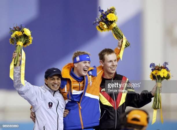 Salt Lake City 2/9/2002 Kearns Utah United States Jochem Uytdehaage Of The Netherlands Is Joined On The Winner'S Podium By Silver Medal Winner Derek...