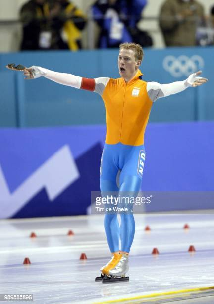 Salt Lake City 2/9/2002 Kearns Utah United States Jochem Uytdehaage Of The Netherlands Reacts After Skating To A Gold Medal And A New World Record...