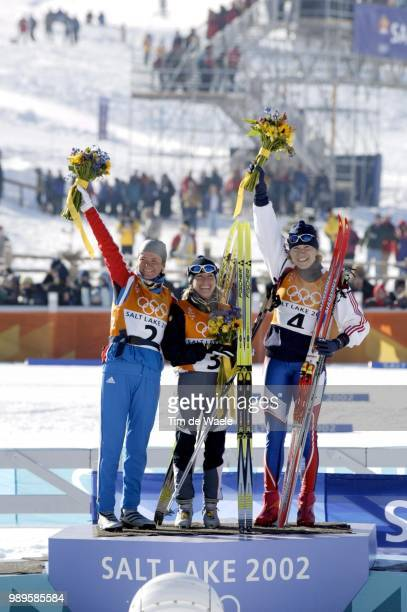 Salt Lake City 2/9/2002 Midway Utah United States Stefani Belmondo Celebrates Her Gold Medal Victory In The Women'S 15Km Cross Country Skiing She Is...
