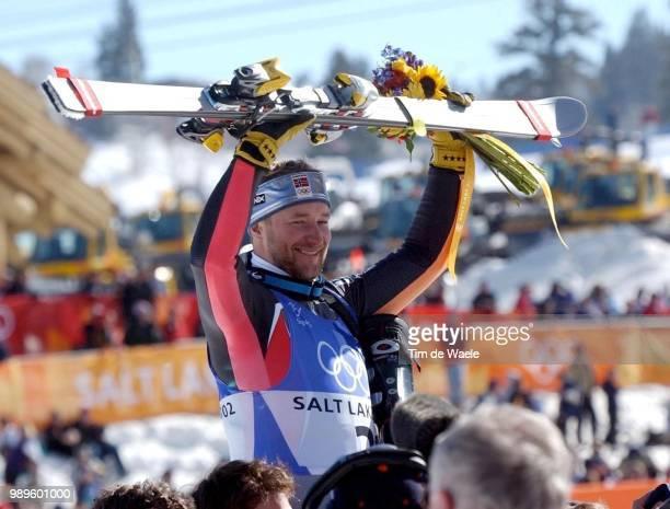 Salt Lake City Afdaling Descante Downhill Alpine Skiing Ski Alpin Skien 2/16/02 Huntsville Utah United States Norway'S Kjetil Andre Aamodt Celebrates...