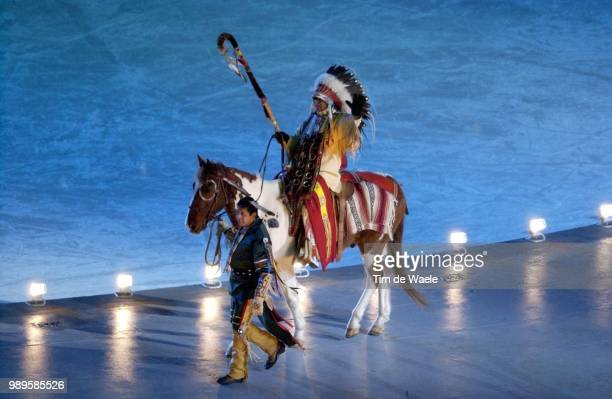 Salt Lake City Indien Indian Cheval Paard Horse /02/8/2002 Salt Lake City Utah United States During The 2002 Olympic Winter Games Photo By Tim De...