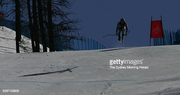 Winter Olympics 2006 Jono Brauer in action at Sestriere Borgata during the Men's Downhill 1st training run 9 February 2006 SMH Picture by TIM CLAYTON