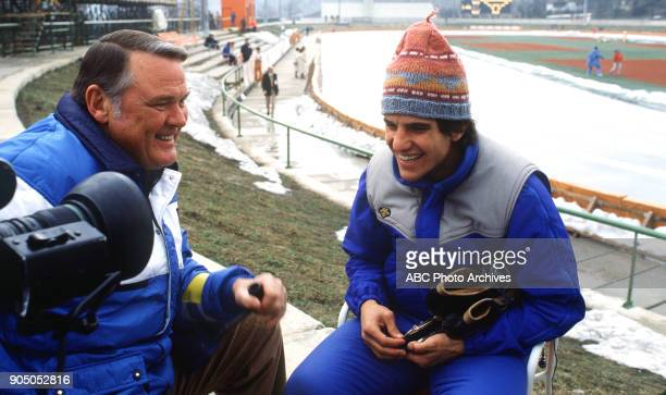 Winter Olympics 2/10/80 ABC Sports commentator Keith Jackson interviewed American champion speed skater Eric Heiden winner of an unprecedented five...