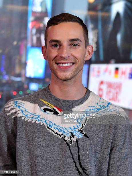 Winter Olympics Bronze medal winner figure skater Adam Rippon visits 'Extra' at Renaissance New York Times Square hotel at Times Square on March 7...
