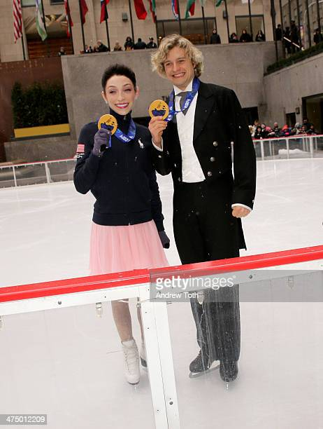 Winter Olympics Ice Dancing gold medalists Meryl Davis and Charlie White pose for a photo duringÊan Ice Dancing Performance at The Rink at...