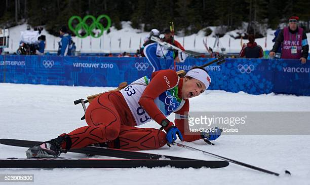 Winter Olympics Vancouver 2010 Ann Kristin Aafedt Flatland Norway feels the pain after finishing during the Women's 75 KM Sprint Biathlon at The...