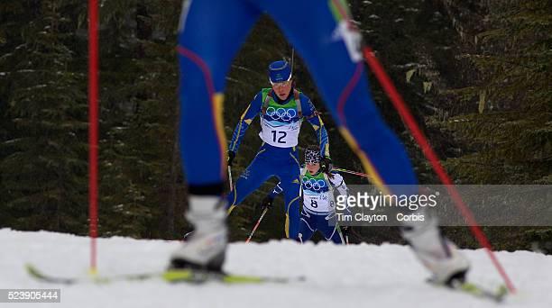 Winter Olympics Vancouver 2010 Eva Tofalvi Roumania Sofia Domeij Sweden and Tanja Karisik Bosnia and Herzegovinia in action during the Women's 75 KM...