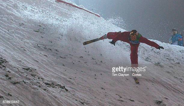 Winter Olympics Vancouver 2010 Mengtao Xu China falls during the Freestyle Skiing Ladies' Aerials Final at Cypress Mountain during the Vancouver...