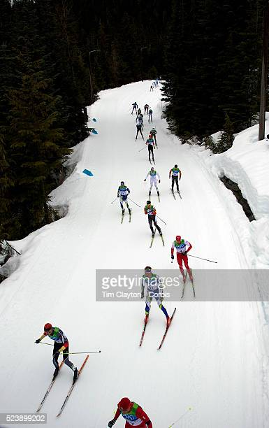 Winter Olympics Vancouver 2010 Skiiers in action during the Cross Country Skiing Men's 50 KM Mass start at Whistler Olympic Park Whistler during the...
