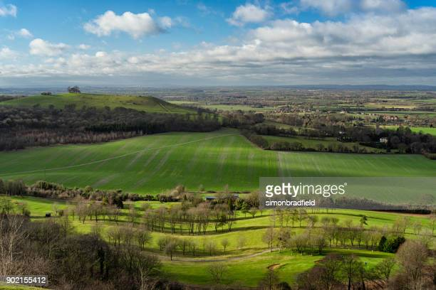 winter on coombe hill in the chilterns, buckinghamshire - buckinghamshire stock pictures, royalty-free photos & images