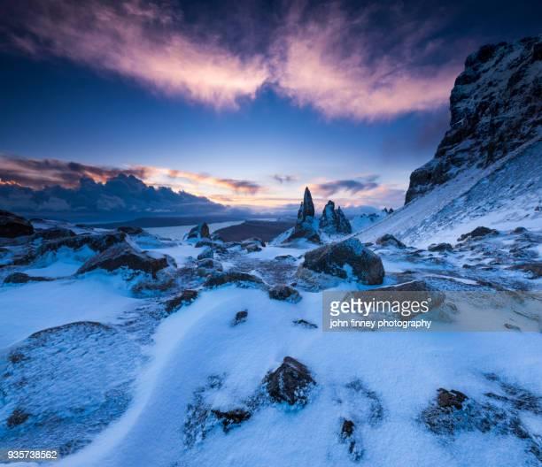 Winter on The Old Man of Storr. Isle of Skye, Scotland, UK.