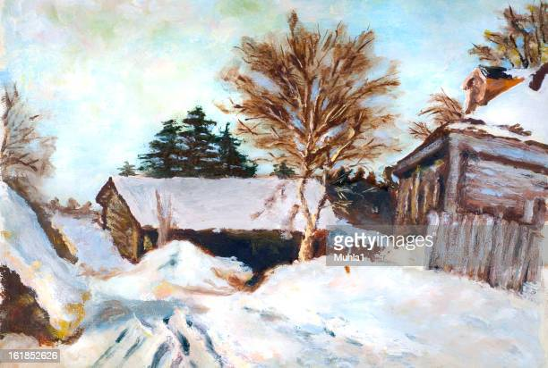 winter painting - oil painting stock pictures, royalty-free photos & images