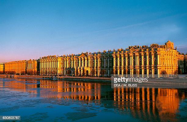 Winter Palace 17541762 by Bartolomeo Francesco Rastrelli now the Hermitage Museum and the Neva river Saint Petersburg Russia 18th century