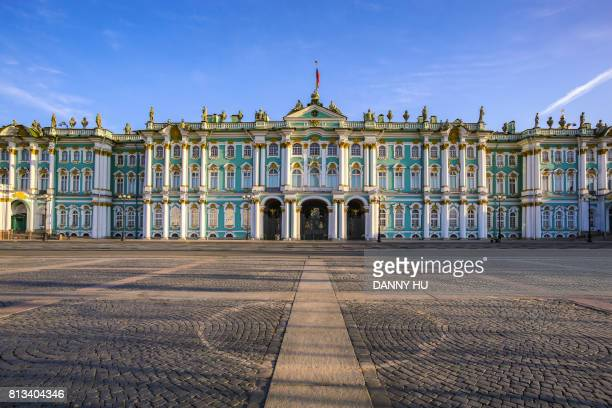 winter palace and palace square,russia - winter palace st. petersburg stock photos and pictures