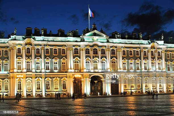 winter palace at night - winter palace st. petersburg stock photos and pictures