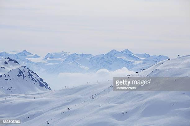Winter panorama  Mountain snowy  landscape Ski resort  Livigno Italian Alps