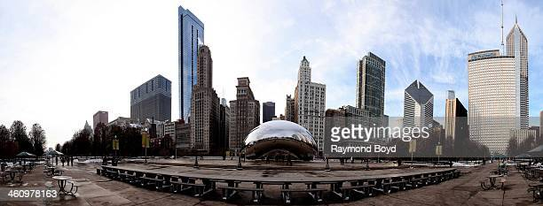 A winter panoramic view of the Chicago skyline as photographed from Millennium Park in Chicago Illinois on DECEMBER 09 2013