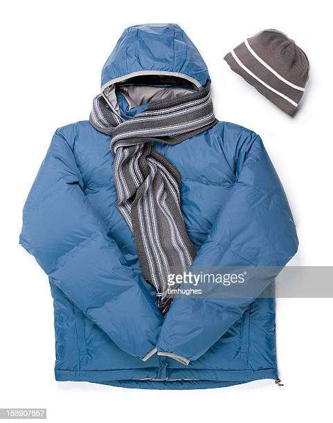 winter parka, scarf and cap - parka coat stock photos and pictures