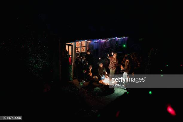 winter party in the garden - fire pit stock pictures, royalty-free photos & images