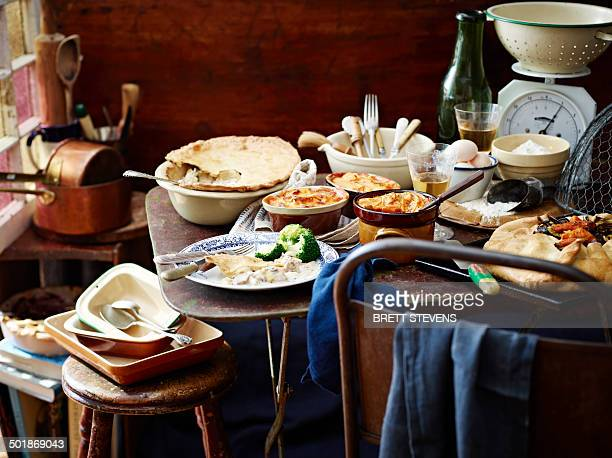 Winter pie selection among kitchen scales and utensils
