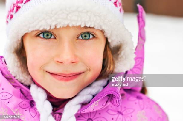 winter portrait of a little girl - green eyes stock pictures, royalty-free photos & images