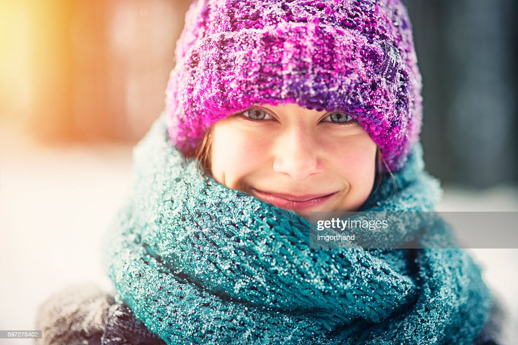 Winter portrait of a little girl : Stock Photo